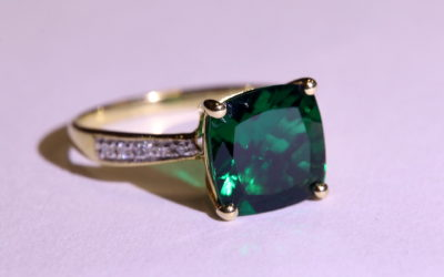 14k Yellow Gold Lab Created Emerald and Diamond