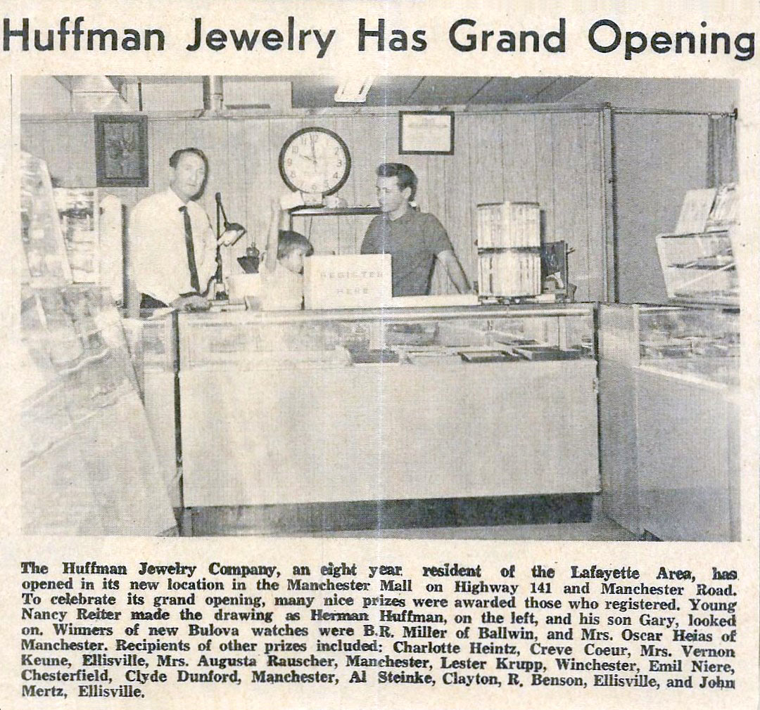 Newspaper clipping of Huffman Jewelry St Louis jewelry store